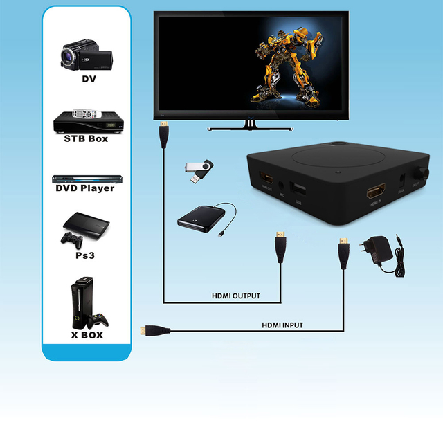 YK918H HDCP HDD Player Video Capture Recorder Box 1080P Game Capture HDMI  With HDMI Capture DC5V 2A  for XBOX PS3 PS4  tv box