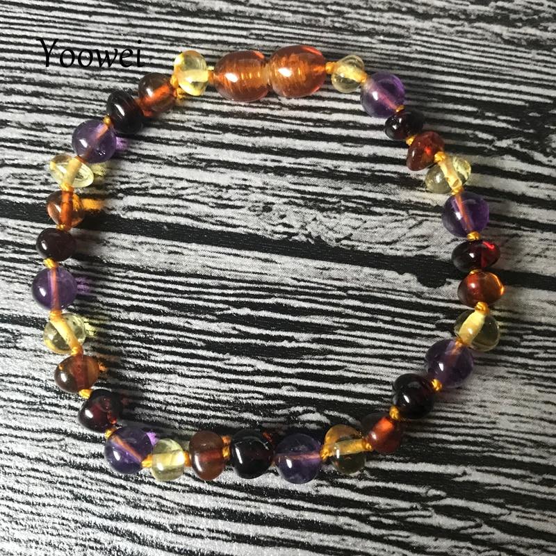 HTB1bo0RoYYI8KJjy0Faq6zAiVXaL Yoowei 9 Color Baby Amber Bracelet/Necklace Natural Amethyst Gems Adult Baby Teething Necklace Baltic Amber Jewelry Wholesale