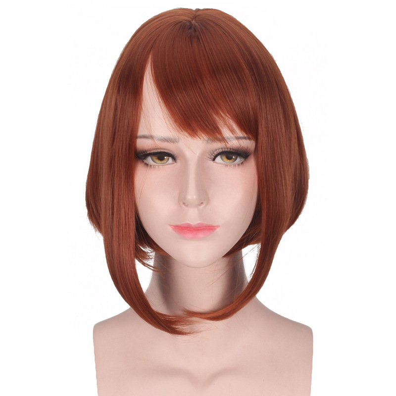 Anime My Hero Academia Ochako Uraraka Cosplay Costume Wig Short Brown Bob Heat Resistant Head