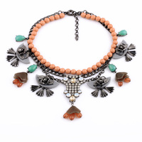 Trendy Jewelry Accessories Friendly Lavish Beaded Exaggerated Black Flower Pendant All Match Female Personality Necklace