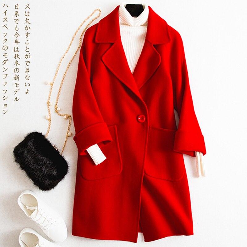 Double Red Modèles Laine Nouvelle Femmes Tempérament Manteau Q14 Grand Section Longue Rouge Hiver face Mode Cachemire 2018 De dTdgfx