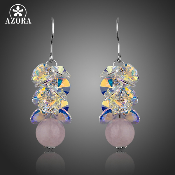 AZORA Fascinating Cluster Color Gradient Stellux Austrian Crystal with Pink Beads Drop Earrings for Women TE0257