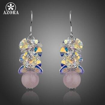 ca7693452134 AZORA Color oro blanco 8 piezas azul cubo Stellux colgante collar de cristal  austriaco TN0078