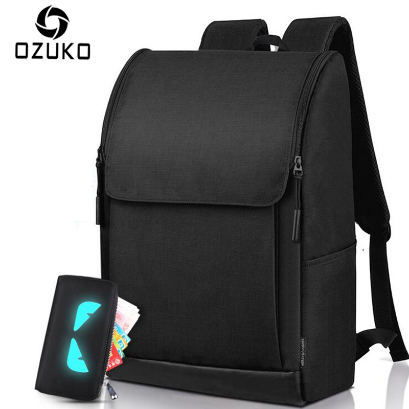 2017 OZUKO Brand Simple Men Waterproof Backpack 15.6 Inch Laptop Backpacks Men Women Mochila Casual Travel Rucksack School bag voyjoy t 530 travel bag backpack men high capacity 15 inch laptop notebook mochila waterproof for school teenagers students