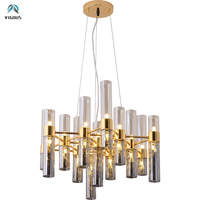 Post Modern Lustre Gradient Glass Shades G4 Led Chandelier Round / Rectangle Shiny Gold Pendant Chandelier Indoor Lamp Fixtures