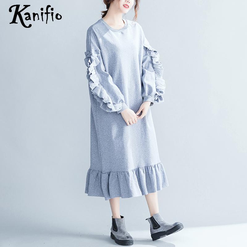 68d4da7689b ... Kanifio Brand Clothing Plus Size Women Ruffle Dress Ladies Causual Loose  Dresses Female Long Shirt Tunics ...