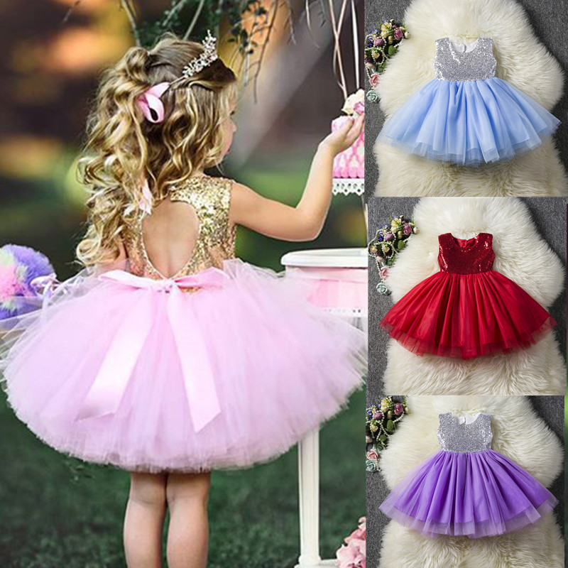 1pcs Girl Kids Baby Toddler Sequin Party Princess Slip Dress Tutu Clothes Outfit