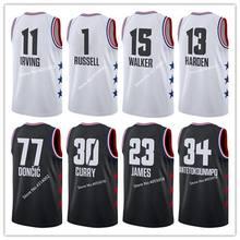 6da0ea97290 #23 LeBron James #77 Luka Doncic #11 Kyrie Irving #15 Kemba Walker #13  James Harden 2019 All Star Basketball Jersey