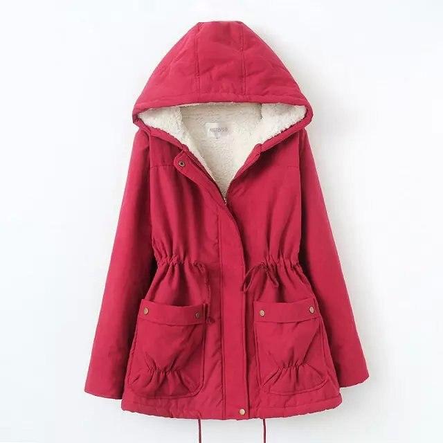 ФОТО 2016 Winter Women Coat Parka Big Size Loose Outwear Hooded Coat Winter Jacket Women Lamb Wool Coats Woman Clothes manteau femme