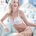 French Romantic Floral Lace Bra Briefs Panty Set Ultra-thin Cup Women Underwear Set Sexy Intimates 32 34 36 38 A B C D Big Cup