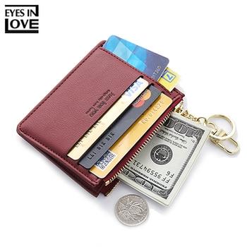 MATA CINTA Kecil Dompet wanita pemegang Kartu Gantungan kunci ID Kartu Kredit Dompet Koin Perempuan Zipper Organzier Wanita Ramping Purse