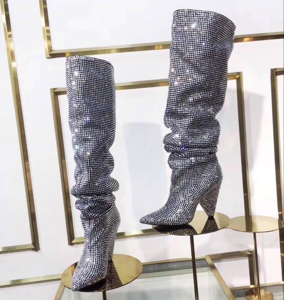 Zapatos Rodilla Tacón Señoras Lujo De Las Toe Show Caballero Mujer As Más as Show Grueso Pointy Deslizamiento Cristal Sexy Mujeres Botas Nuevo Rhinestone En A0pZUWFFcq