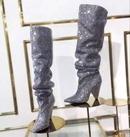 Newest Luxury Crystal Women Pointy Toe Knee High Boots Sexy Chunky Heel Boots Slip On Ladies