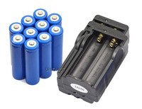 new 10 piece 18650 Li-ion Rechargeable LED Flashlight Torch Battery 4 Charger Free Shipping