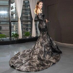 Image 4 - YeWen Black Mermaid Evening dress formal dress  arab dresses evening 2020 Long Sleeves
