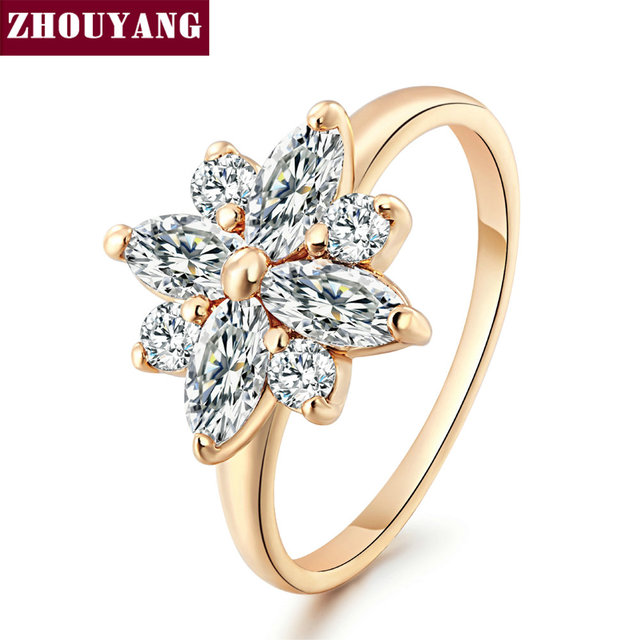 Top Quality Crystal Snowflake CZ Ring Rose Gold Color Jewelry Austrian Crystals