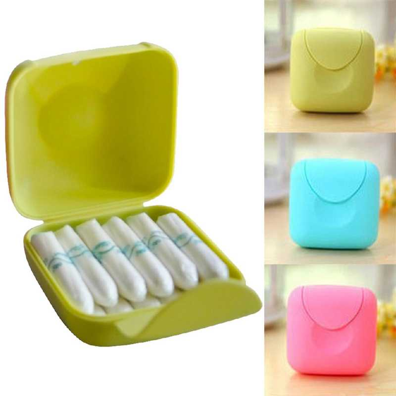 1Piece Travel Outdoor Portable Women Tampons Storage Box Holder Tool Set Color Random
