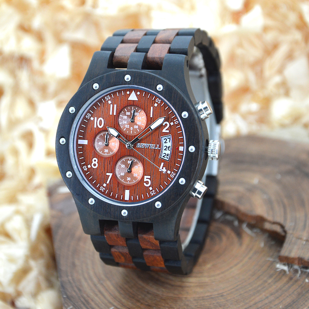 BEWELL Mens Watches Top Brand Luxury Wood Watch Men Sport Watch Chronograph Analog Digital Male Watches Relogio Masculino 109D bewell luxury brand wood watch men analog digital movement date waterproof male wristwatches with alarm date relogio masculino