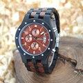 Mens relojes tres diales bewell reloj de madera hombres de madera de la vendimia caja 109d fecha display de cuarzo reloj de pulsera regalos de kit de reparación