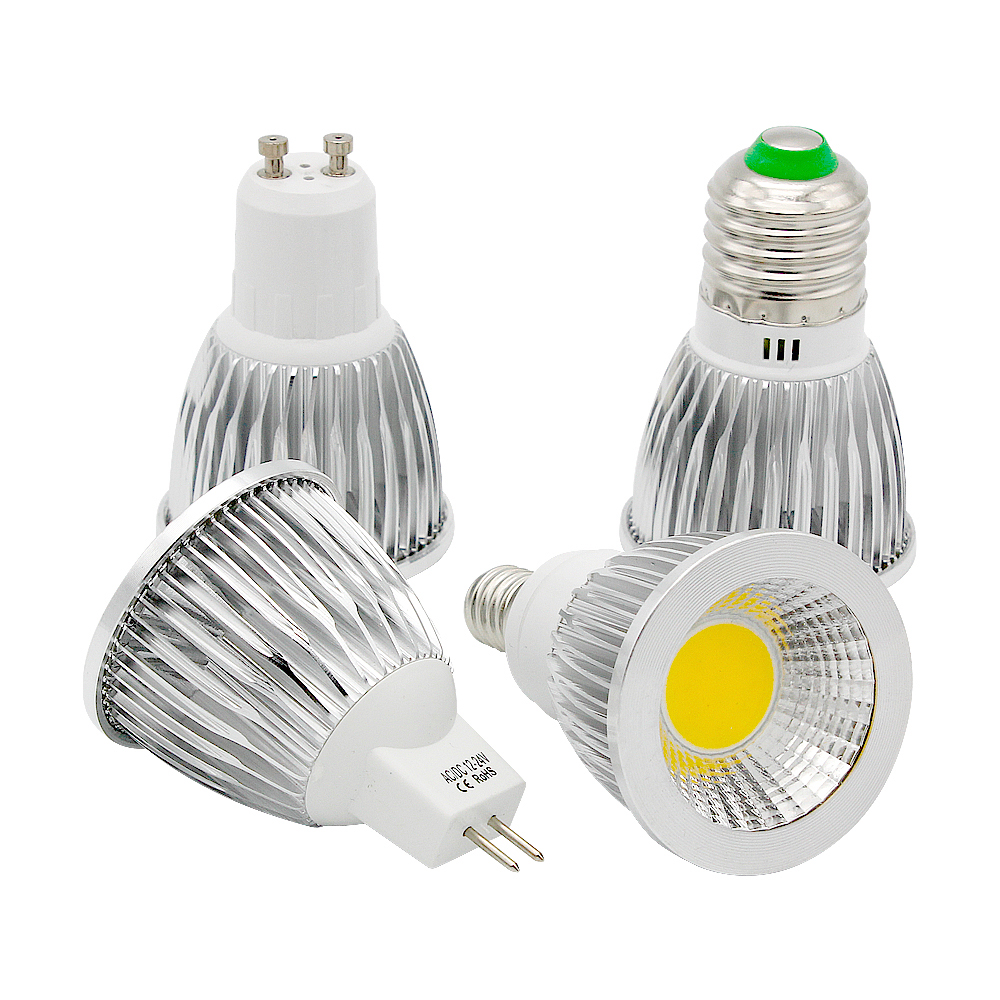 Ampoule COB LED Spotlight GU10 9W 12W 15W E27 E14 Dimmable Bombillas 85-265V Lamp MR16 AC DC 12V LED Bulb Lamparas Spot Light