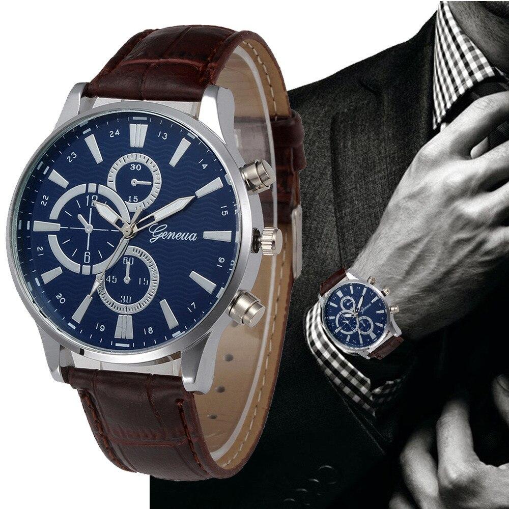 2019 Mode Top Marke Genf Uhr Frauen Männer Casual Römischen Ziffern Faux Leder Quarz Armbanduhren Uhr Relogio Masculino Partneruhren