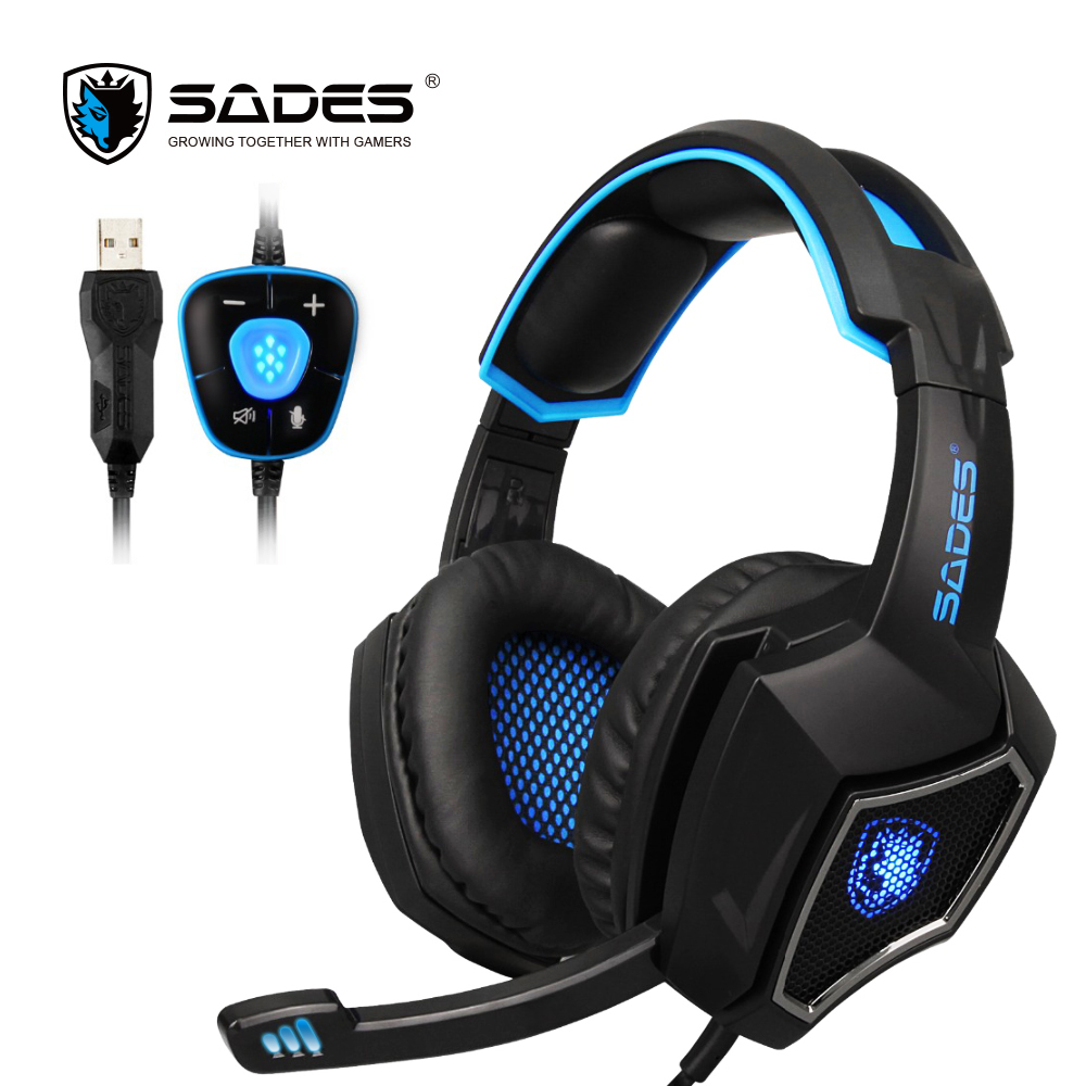Computer Gaming Headphone SADES Spirit Wolf USB 7.1 Surround Sound Gaming Headset Headphones with Mic Led Lights for PC Gamers each g8200 gaming headphone 7 1 surround usb vibration game headset headband earphone with mic led light for fone pc gamer ps4