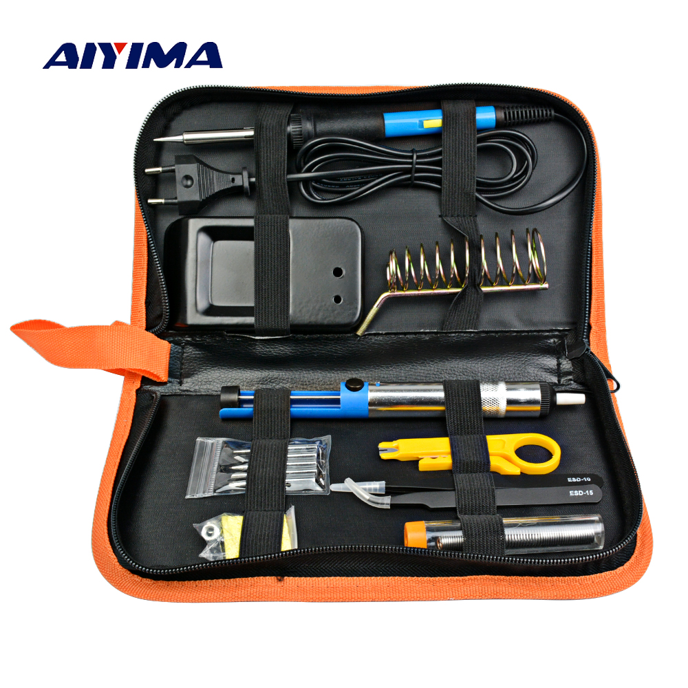 Aiyima EU Plug 220V 60W Adjustable Temperature Electric Soldering Iron Kit Portable Welding Repair Tool Tweezers цена