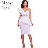 Fãs Binbye Queda robe um ombro plissado backless vestidos de festa de Mulheres sexy 2 conjunto de duas peças vestido bodycon CH156