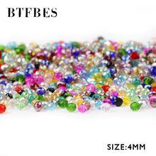 BTFBES Austrian Crystals Loose Beads Faceted Flat Round Shape 4mm 100pcs glass Ball Bracelet Necklace Earring Jewelry Making DIY
