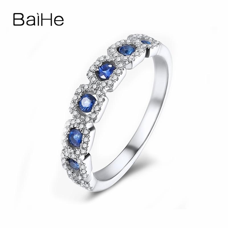 BAIHE Solid 18 К белого золота 0.32CT Certified H/SI круглый 100% из натуральной сапфирами Обручение Для женщин Мода тонкой jewelry Кольцо
