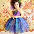 Meninas novas Penas de Pavão Vestido de Tule Tutu Vestido Pageant Vestidos Para Festa de Aniversário do Dia Das Bruxas Do Bebê Menina Roxo Vestido Turquesa