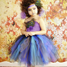 Новые Девушки Павлин Платье Тюль Туту Платье Перья Театрализованное Платья Для Хэллоуина День Рождения Девочка Фиолетовый Бирюзовый Платье