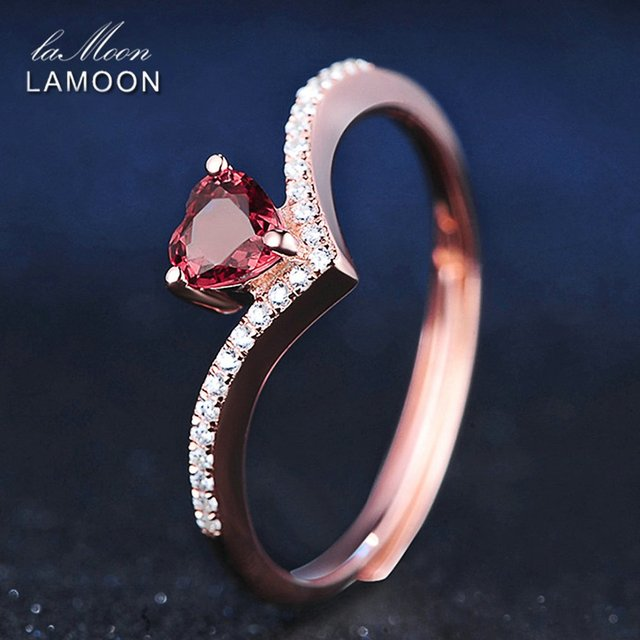 LAMOON Love Heart Red Garnet Ring 925 Sterling Silver Natural Gemstone Fine Jewelry For Women