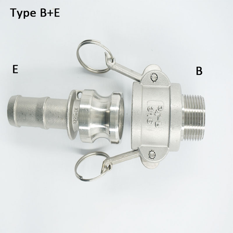 """1/2""""  Type B +  E   Quick Camlock Adapter 316  Stainless Steel Male Coupler  BSPT Thread"""