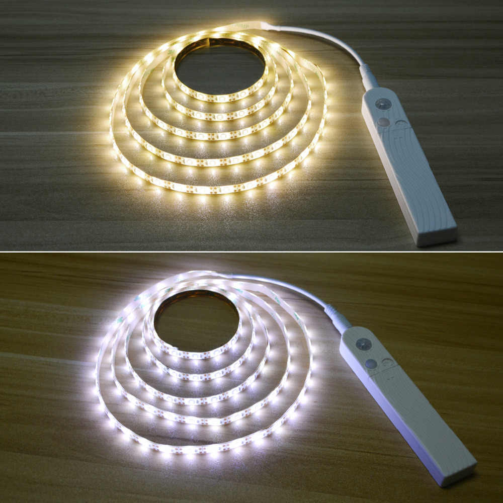 Светодио дный под кабинет свет Светодиодные ленты светодио дный лампа с Беспроводной движения PIR Сенсор USB Порты и разъёмы свет гардероб Лестницы шкаф кровать стороне свет