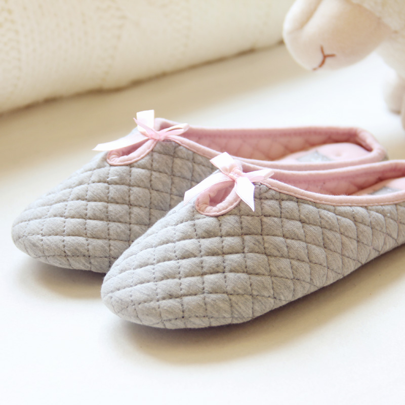 2016 autumn and winter ms cute bow slippers indoor soft bottom