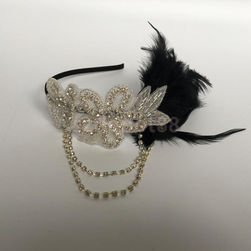 Vintage Womens Feather 1920s Headpiece Flapper Chain Flower Hairband Great Gatsby Headband