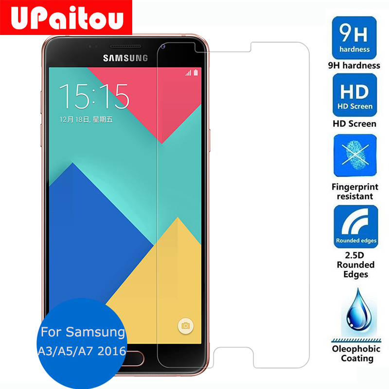 UPaitou For Samsung Galaxy A3 A5 A7 2016 Duos Tempered Glass Screen Protector 2 5 9h