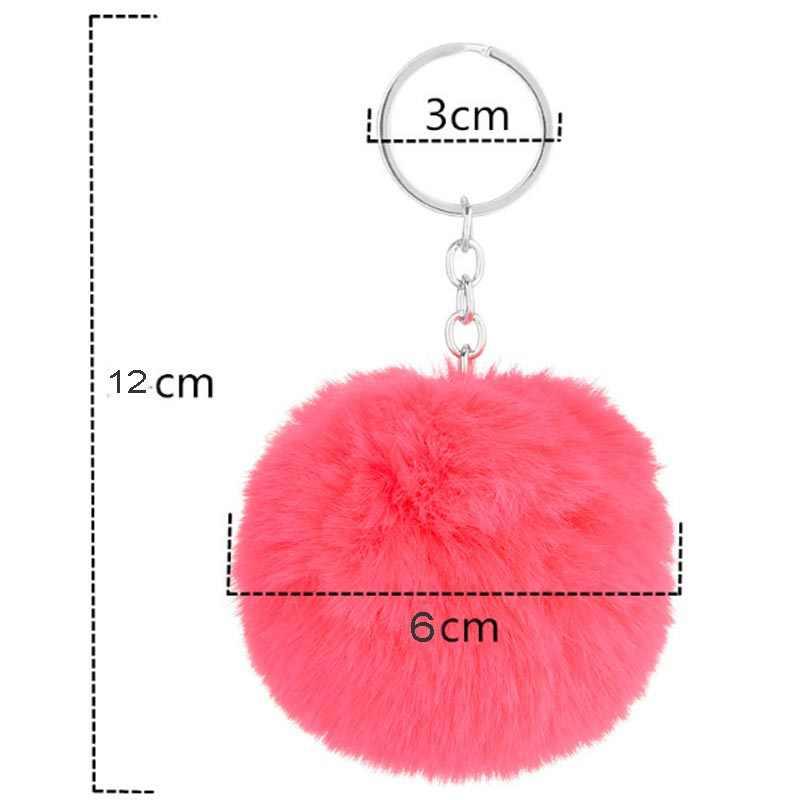 Heißer Verkauf Plüsch Pelz Keychain Pompom Gefälschte Pelz Ball KeyChain Frauen Keyring Tasche Charme Schlüssel Ring Llaveros Chaveiros Anhänger a001