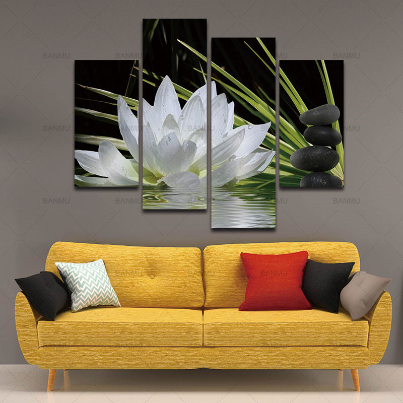 BANMU 4 Pieces Canvas Print Wall Paintings for Home Flower White Lotus In Black Wall Art Picture Modern Modular Picture Unframed