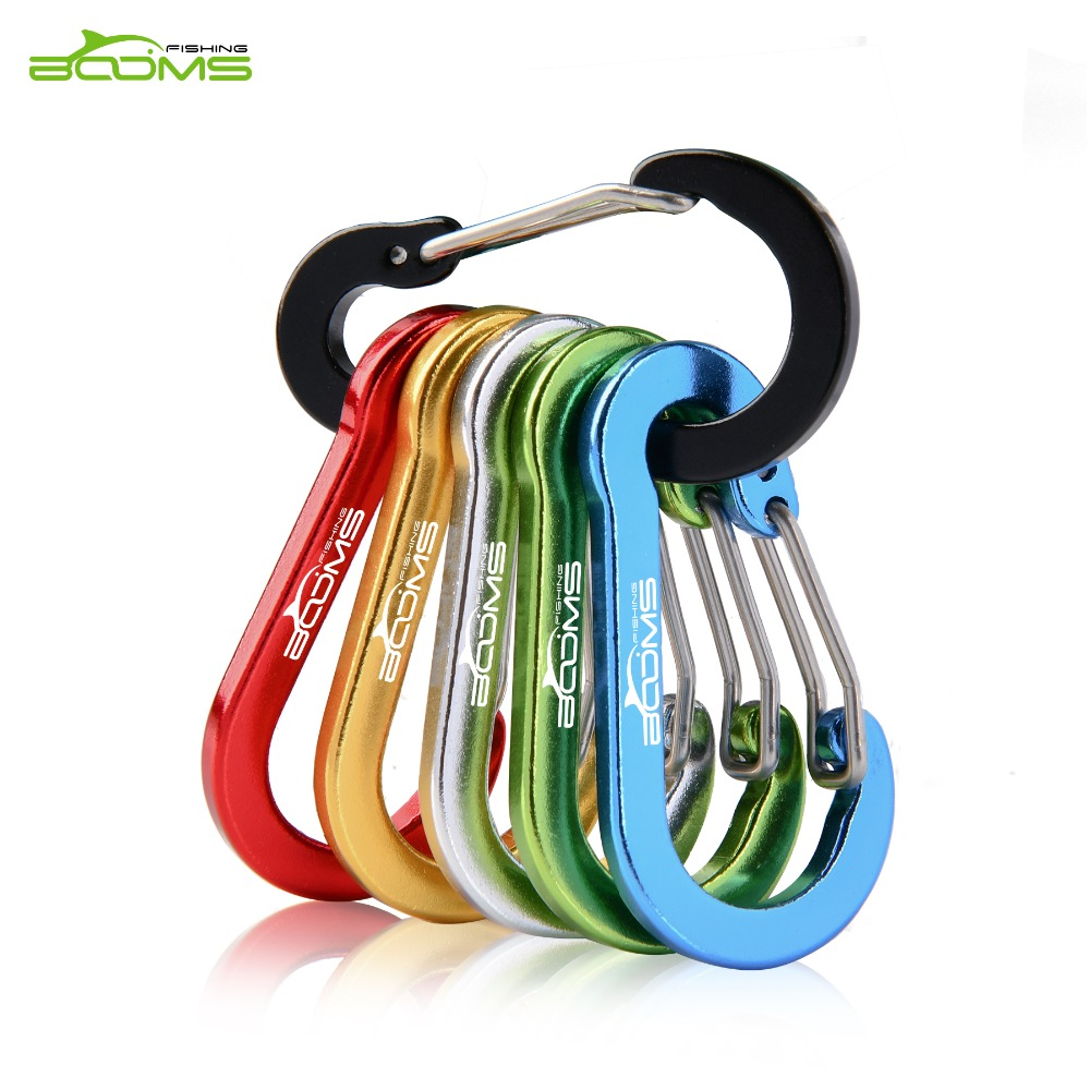 Hiking Booms Fishing CC1 6Pcs Aluminum Alloy Carabiner Keychain Outdoor Camping Climbing Snap Clip Lock Buckle Hook Fishing Tool 6Color