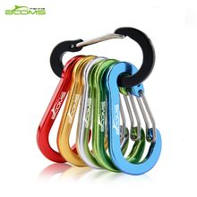 Booms Fishing CC1 6Pcs Aluminum Alloy Carabiner Keychain Outdoor Camping Climbing Snap Clip Lock Buckle Hook Fishing Tool 6Color(China)