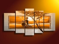 Hand painted wall art African desert sun Home Decoration Modern Landscape Oil Painting on canvas 5pcs