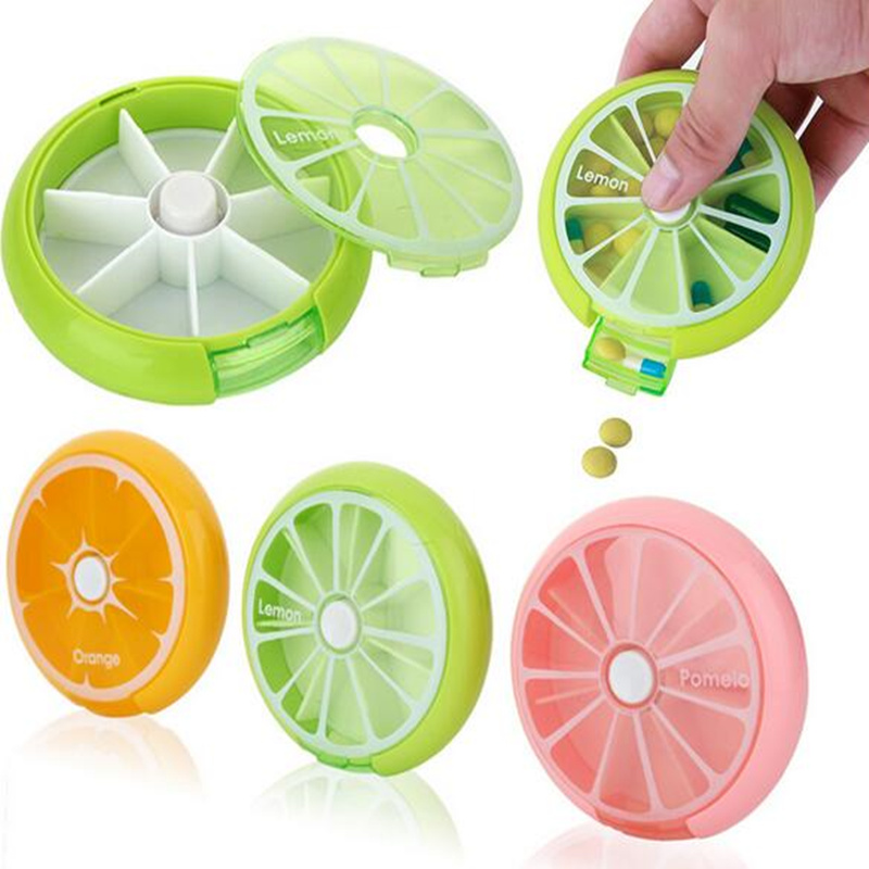 Portable Rotary Dispensing Pill Case Fruit Design Circular 7 Slots Storage Box Bins Medicine Holder Organizer(China)