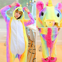 Cute Cartoon Animal Rainbow Kigurumi Unicorn Pajamas Flannel Long Sleeve Adult Amine Winter Women Unicornio Pijamas
