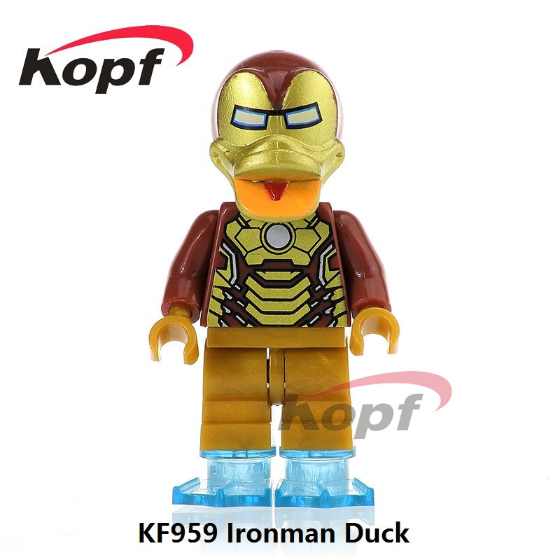 Single Sale KF959 Super Heroes Iron Man Wolverine Captain America Batman Deadpool Duck Dolls Building Blocks Children Gift Toys
