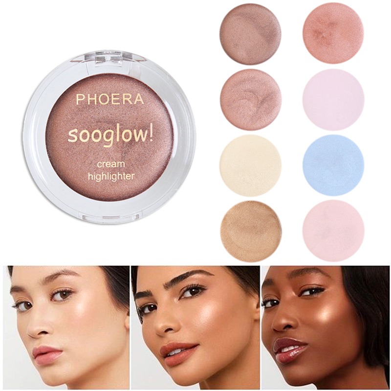 PHOERA Shimmer Highlighter Face Makeup Luminizer Highlighter Fundation Brighten Cream Natural Radiance Long Lasting TSLM2