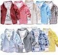 VENDA! o envio gratuito de bebê menino de algodão de manga Comprida camisa xadrez