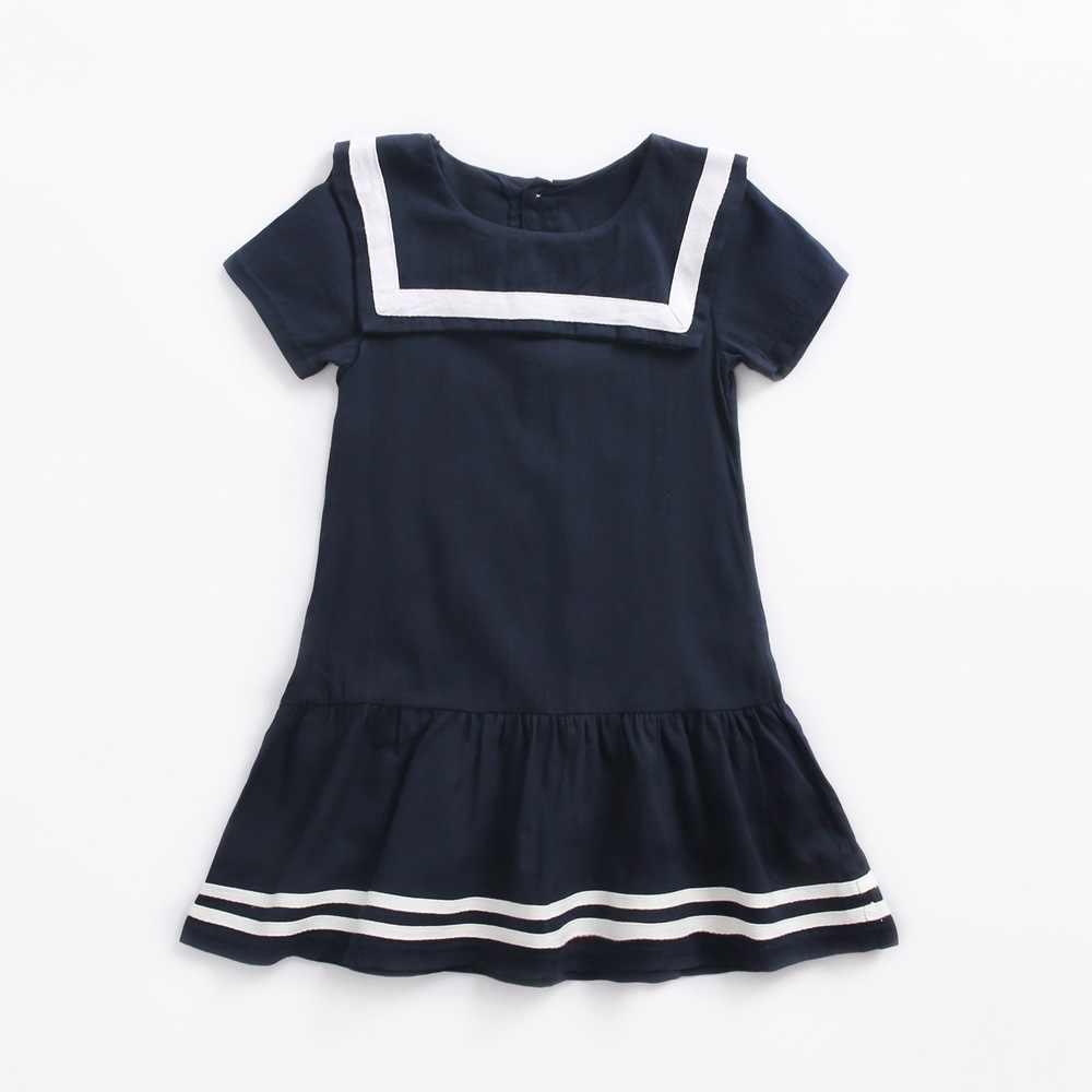Темно-синее платье для девочек летние школьные платья в стиле преппи для девочек школьная одежда для девочек-подростков 4, 6, 8, 10, 12 лет