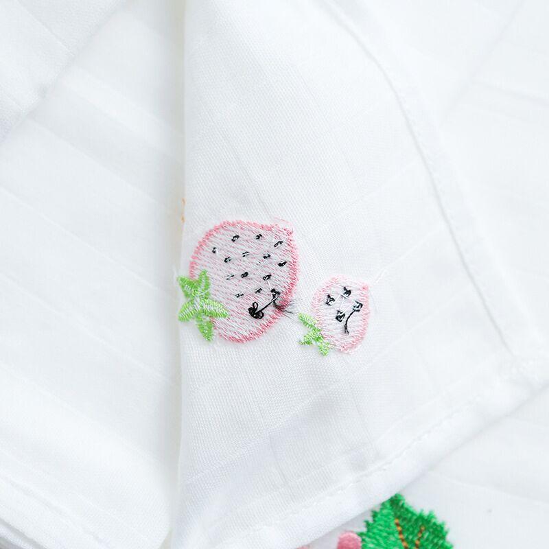 Muslin Cotton Towel Embroidery Baby Towel Baby Saliva Towel Cotton Gauze Square Bath Towel Baby Feeding Handkerchief Baby Gift